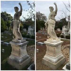The Brown monument before (left) and after (right)
